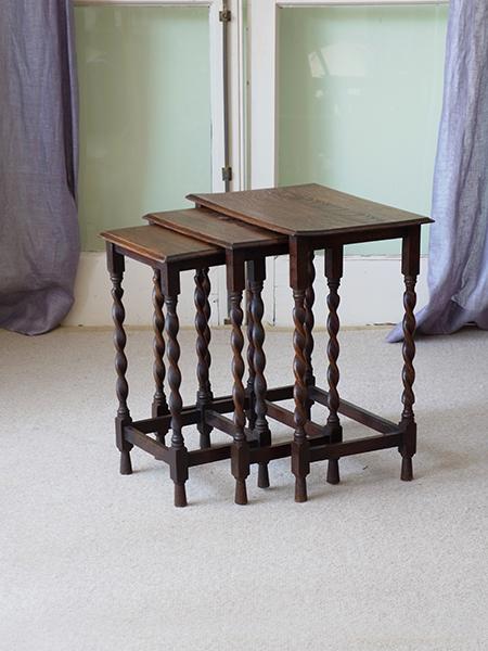 KX150 アンティーク オークネストテーブル
