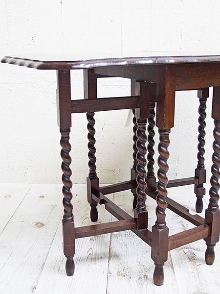 KE118 アンティーク オーク ゲートレッグ テーブル