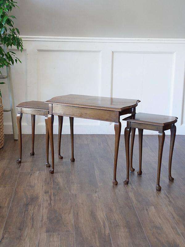 KE143 アンティーク ウォルナットネストテーブル