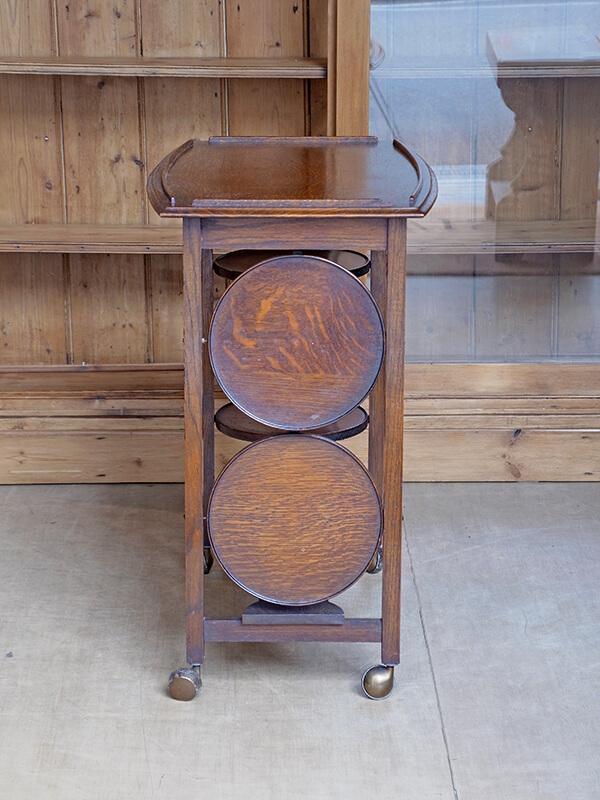 KJ163 アンティーク オークケーキスタンドテーブル