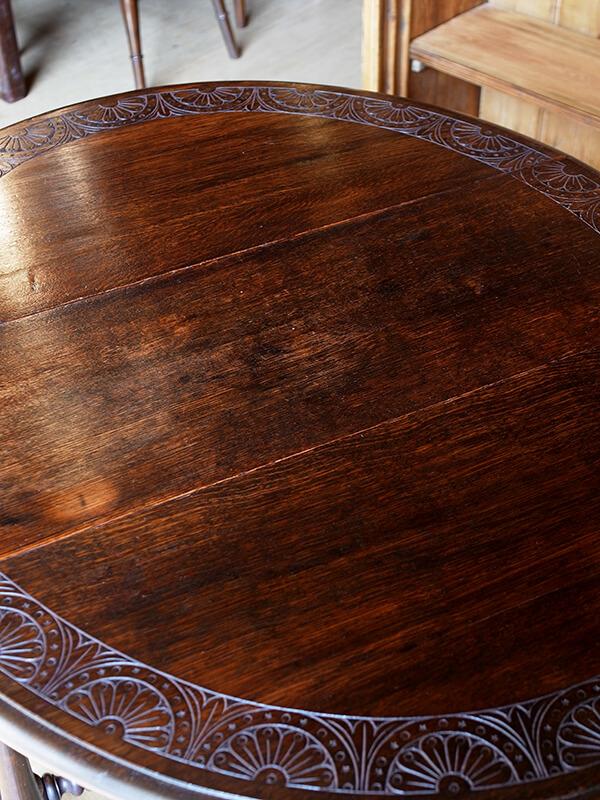 KJ8 アンティーク オークゲイトレッグテーブル