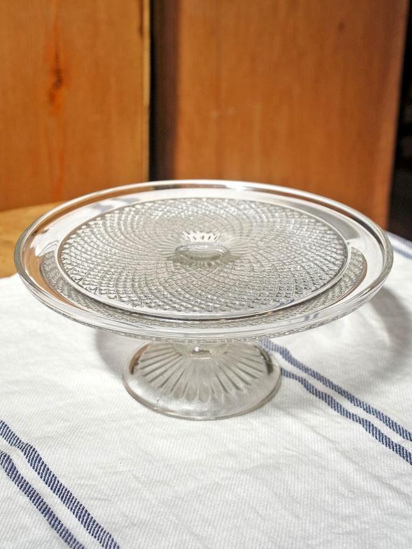 KL33d アンティーク ガラスケーキスタンド