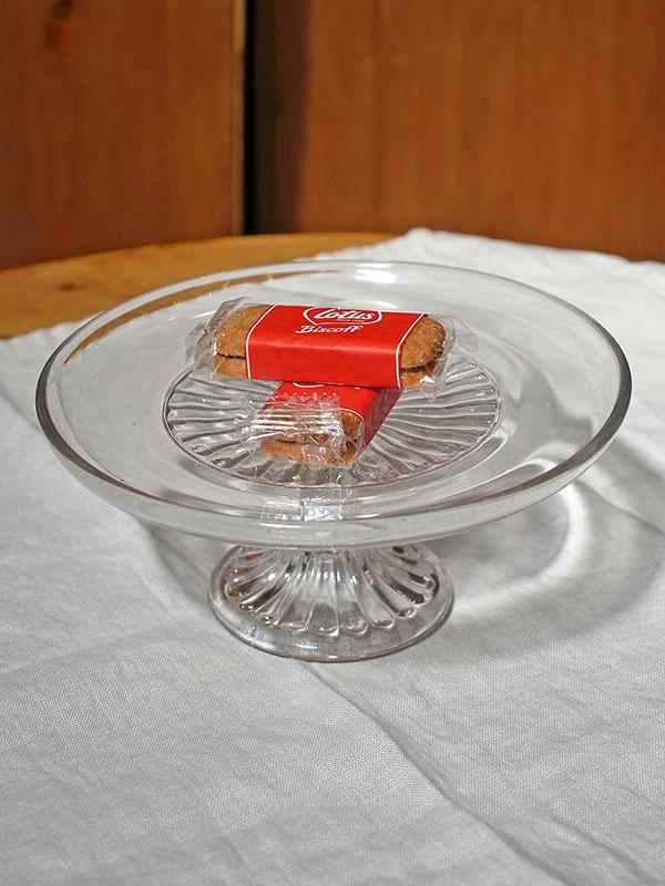 KL33b アンティーク ガラスケーキスタンド