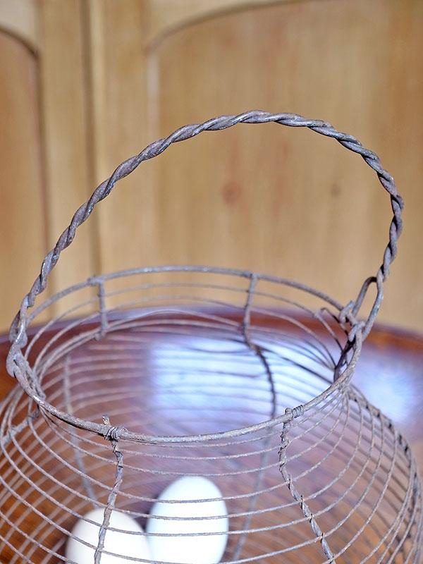 KL12b アンティーク ワイヤーエッグバスケット