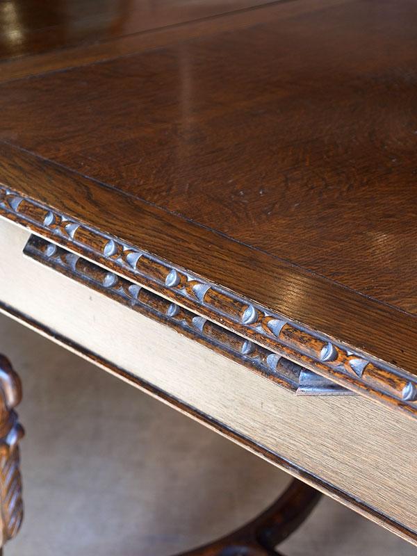 PJ955 アンティーク オークドロアリーフテーブル