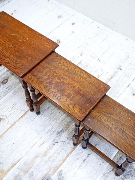 KQ115 アンティーク オークネストテーブル